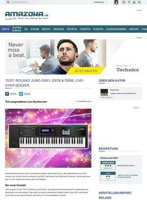 Amazona.de Test: Roland Juno-DS88, 61 Synthesizer Workstation
