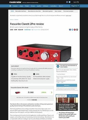MusicRadar.com Focusrite Clarett 2Pre