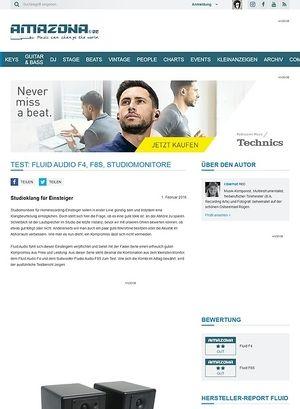 Amazona.de Test: Fluid Audio F4, F8S, Studiomonitore