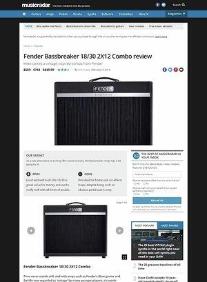 MusicRadar.com Fender Bassbreaker 18/30 2X12 Combo