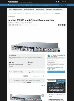 MusicRadar.com Audient ASP800 Multi-Channel Preamp