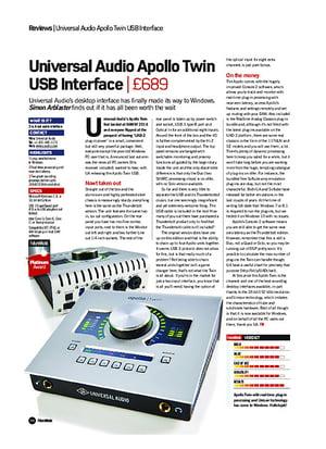 Future Music Universal Audio Apollo Twin USB Interface