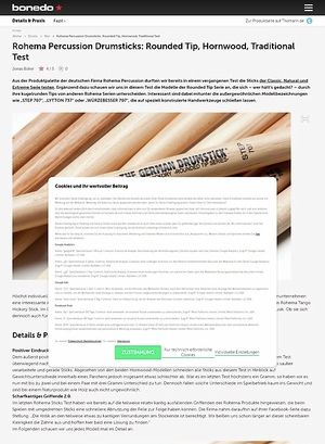 Bonedo.de Rohema Percussion Drumsticks: Rounded Tip, Hornwood, Traditional