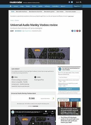 MusicRadar.com Universal Audio Manley Voxbox