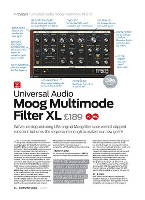 Computer Music Universal Audio Moog Multimode Filter XL