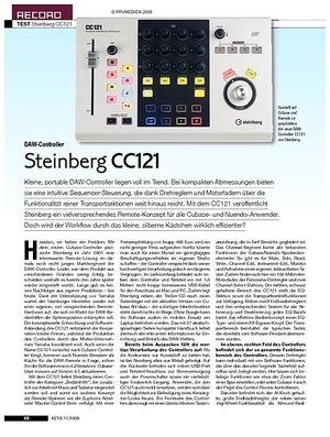 KEYS Steinberg CC121 Controller, MR816 Interface, Cubase 4.5
