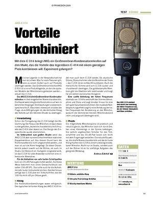 Tastenwelt Test: AKG C 214 - Vorteile kombiniert